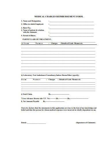 medical charges reimbursement form