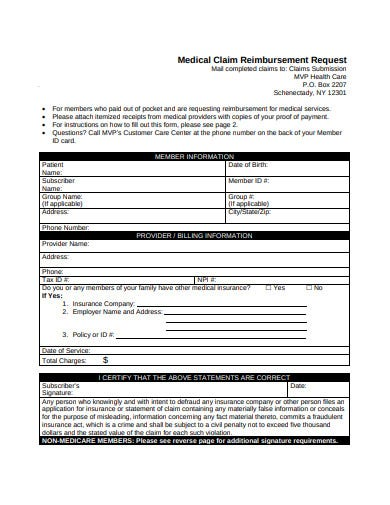 medical claims reimbursement request form