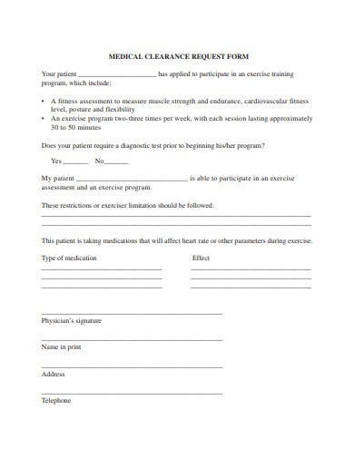 medical-clearance-request-form-template