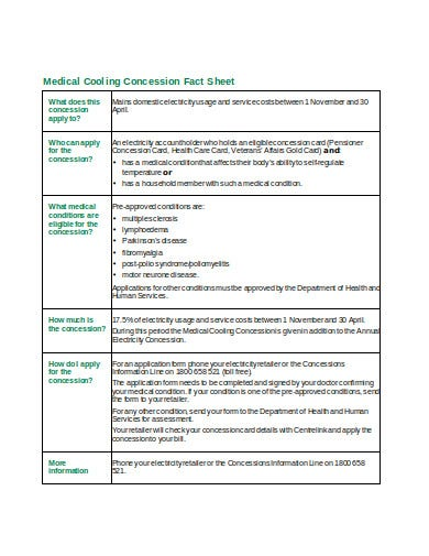 medical cooling concession fact sheet template