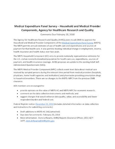 medical expenditure panel survey template
