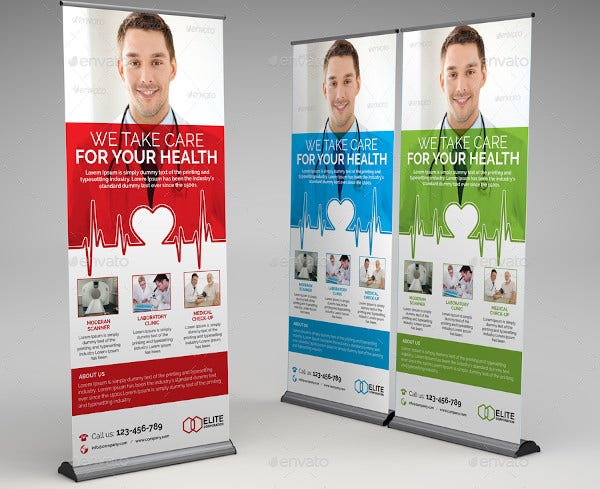 medical health roll up banner template