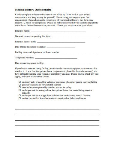 medical history questionnaire form template