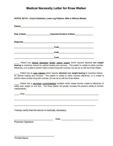medical necessity letter for knee walker