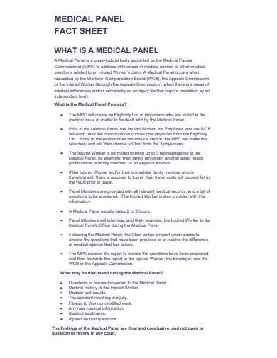 medical panel fact sheet template