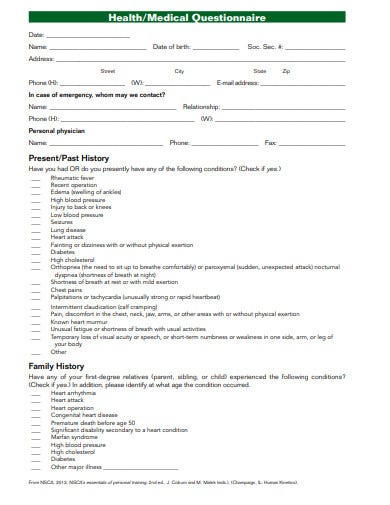 medical present history questionnaire template