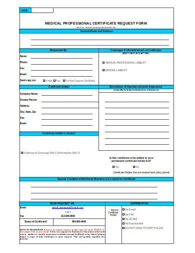 medical professional certificate request form template