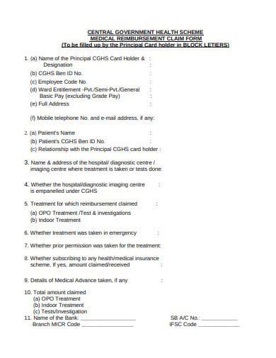 medical reimbursement claim form template