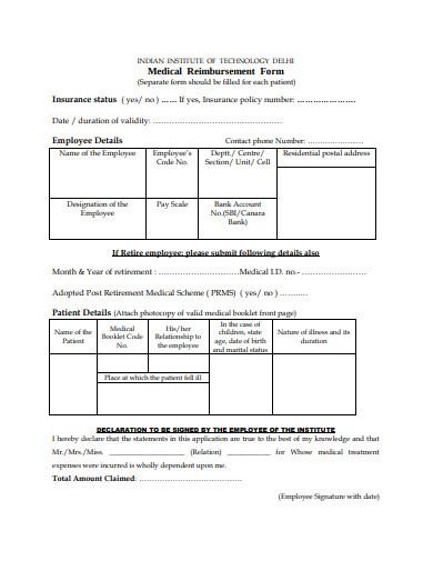 medical reimbursement form template