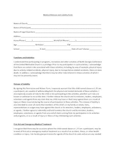 medical release and liability form template