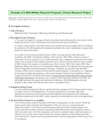 medical research proposal example