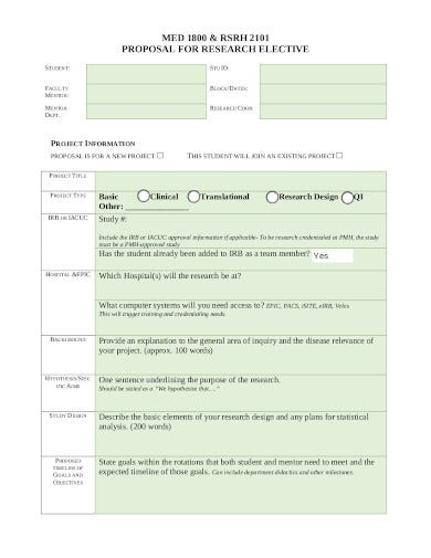 medical research proposal format