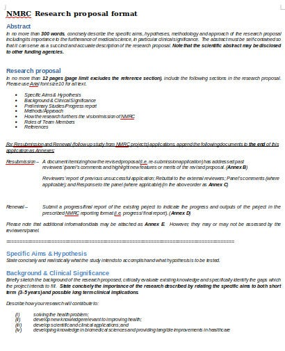 medical research proposals format in doc