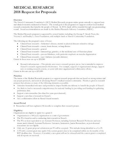 medical research request for proposal template