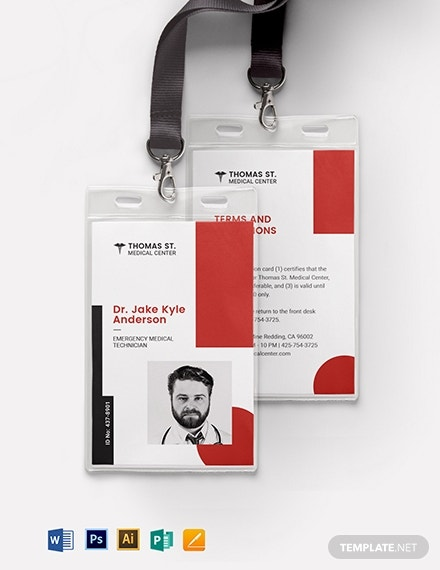 medical responder id card template 11