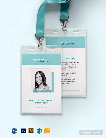 medical student id card template 11