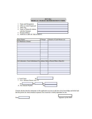 medical charges reimbursement form examle