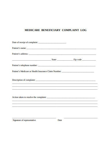 medicare beneficiary complaint log template