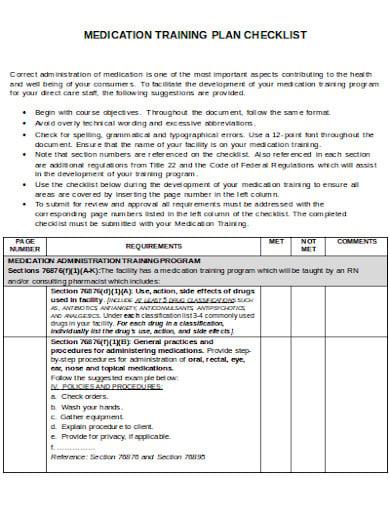 checklist medication administration dds gov training plan templates template