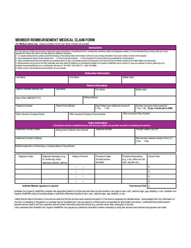 member reimbursement medical claim form
