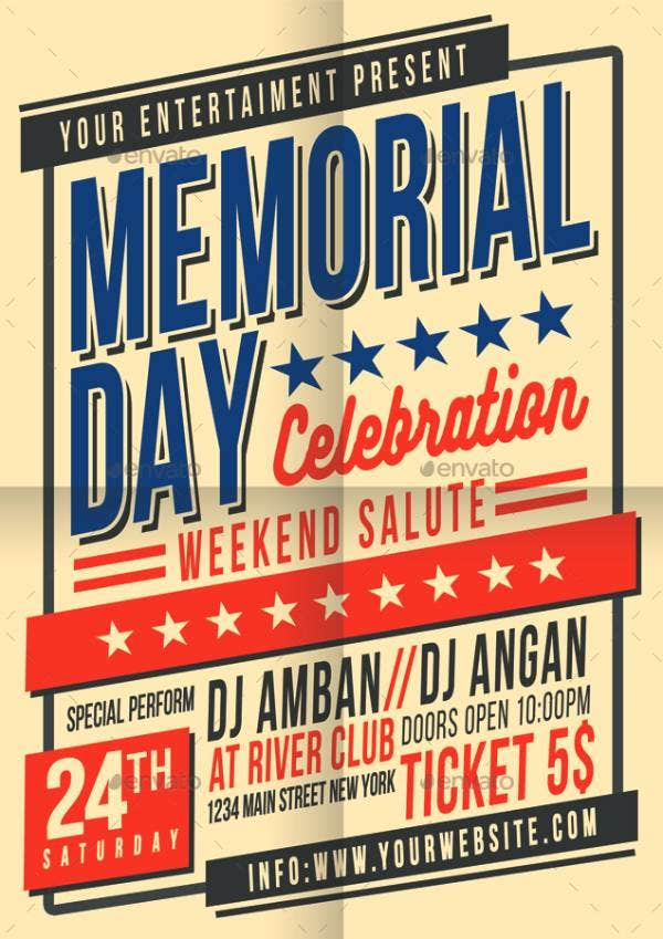 memorial day celebration flyer poster brown 2