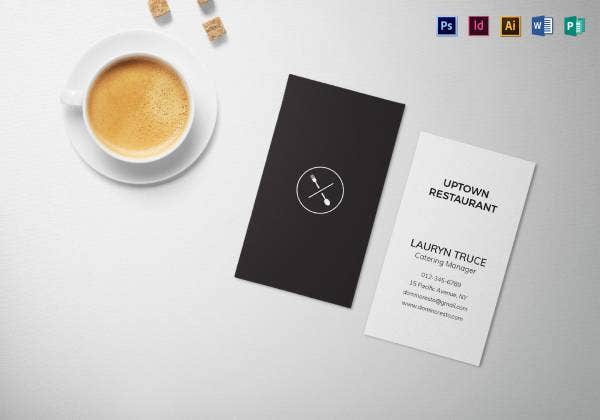 minimal black and white business card mock up