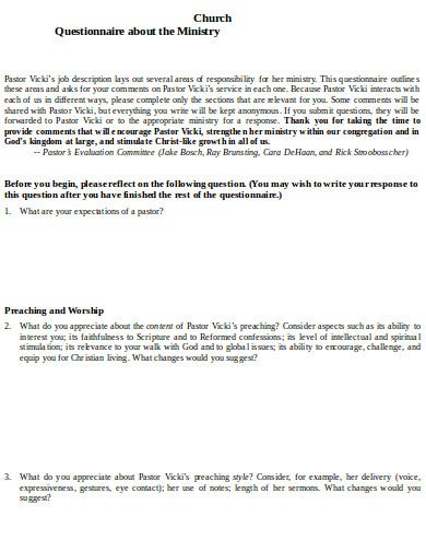 ministry church questionnaire template