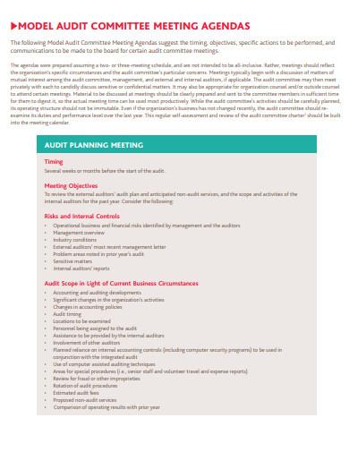 model audit committee meeting agenda template