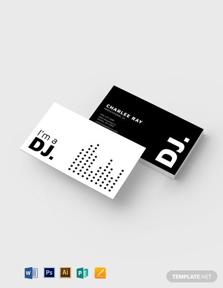 modern black and white dj business card