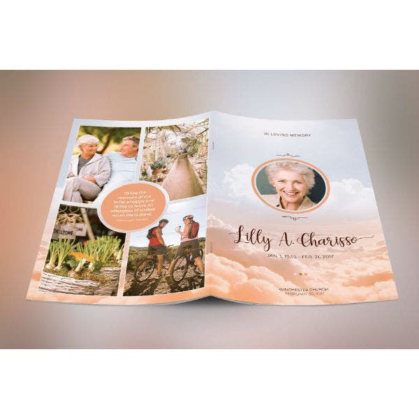 modern heaven cremation funeral program brochure template