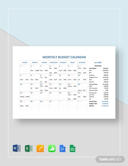 monthly budget calendar