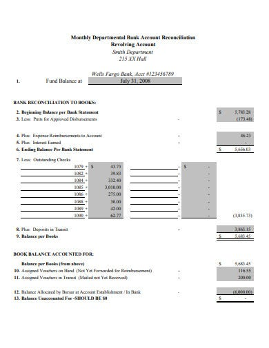 monthly departmental bank account reconciliation template