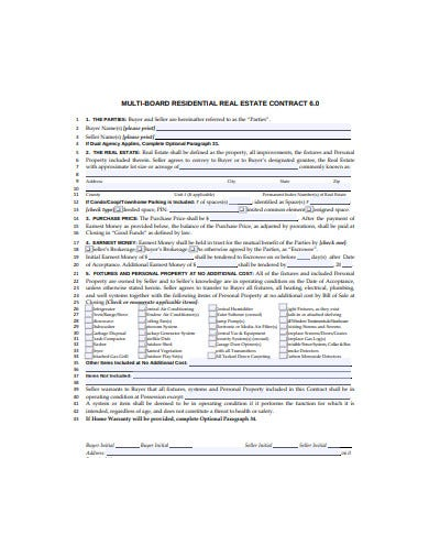 multi board residential real estate contract template