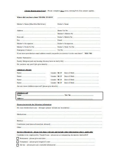 nanny registration invoice form