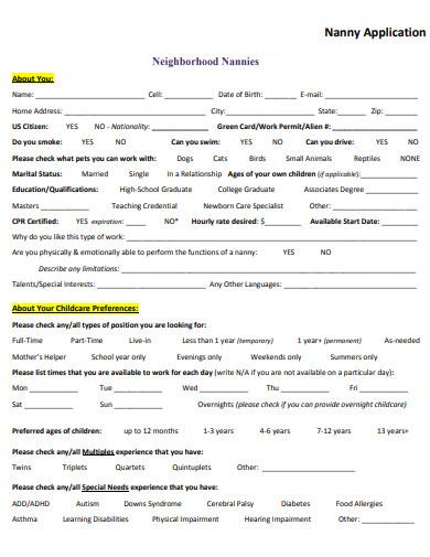10 nanny employment application templates in doc pdf. Black Bedroom Furniture Sets. Home Design Ideas
