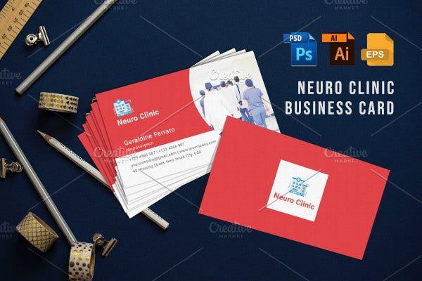 neuro clinic business card template