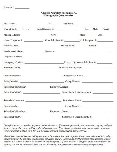 neurology specialist demographic questionnaire