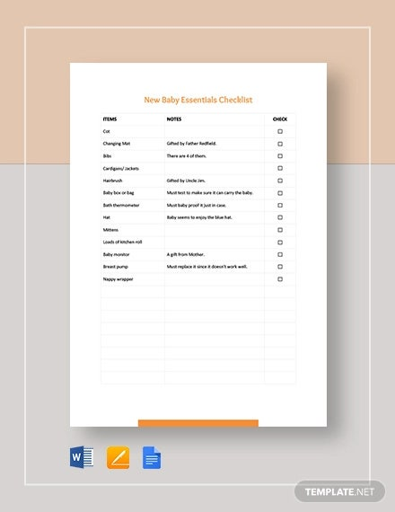 new baby checklist template