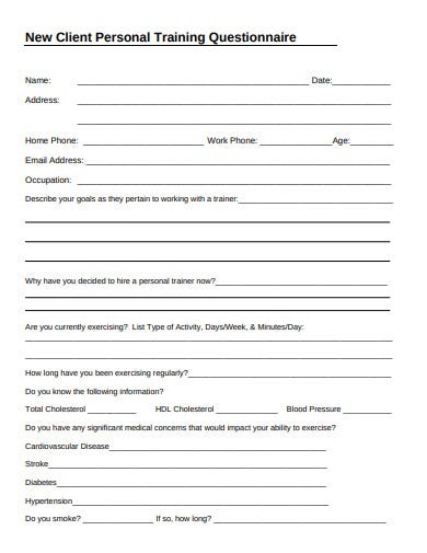 new client personal training questionnaire