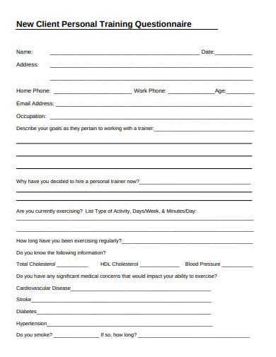 Trainer worksheet personal client 19 Best