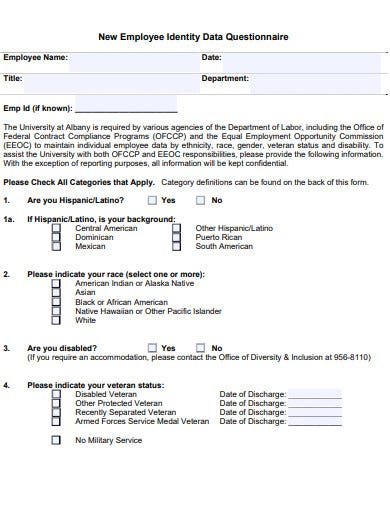 new employee identity data questionnaire