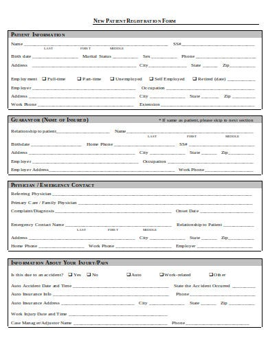 new patient registration form in doc