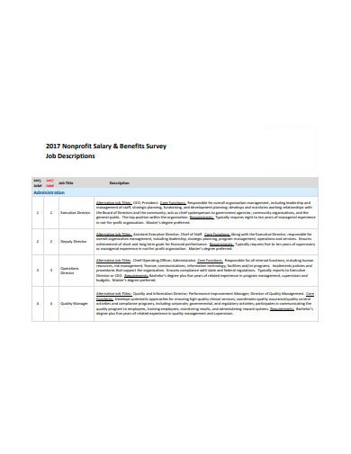 nonprofit salary benefits survey template