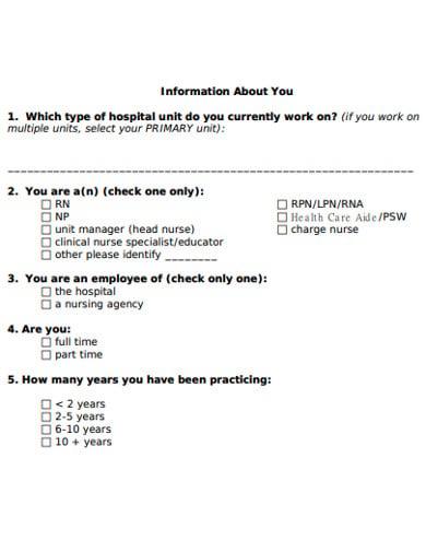nurse survey template