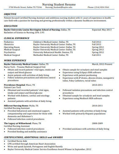 nursing assitant student resume template