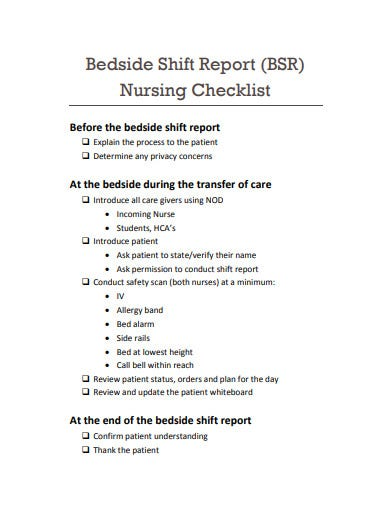 nursing beside shift report in pdf