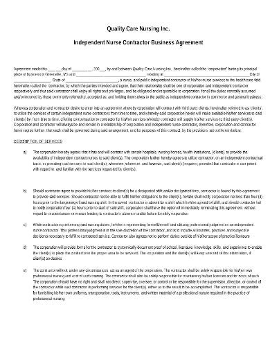 nursing contract business agreement template