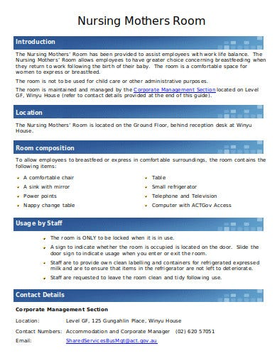 nursing mother room fact sheet template