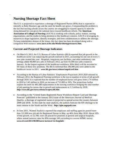 nursing shortage fact sheet template