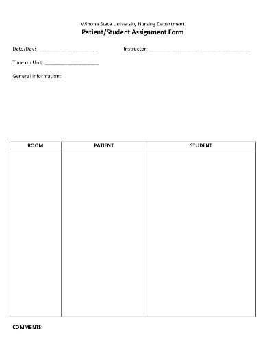 nursing student assignment form sheet